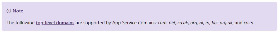 Azure domain transfer TLD restriction