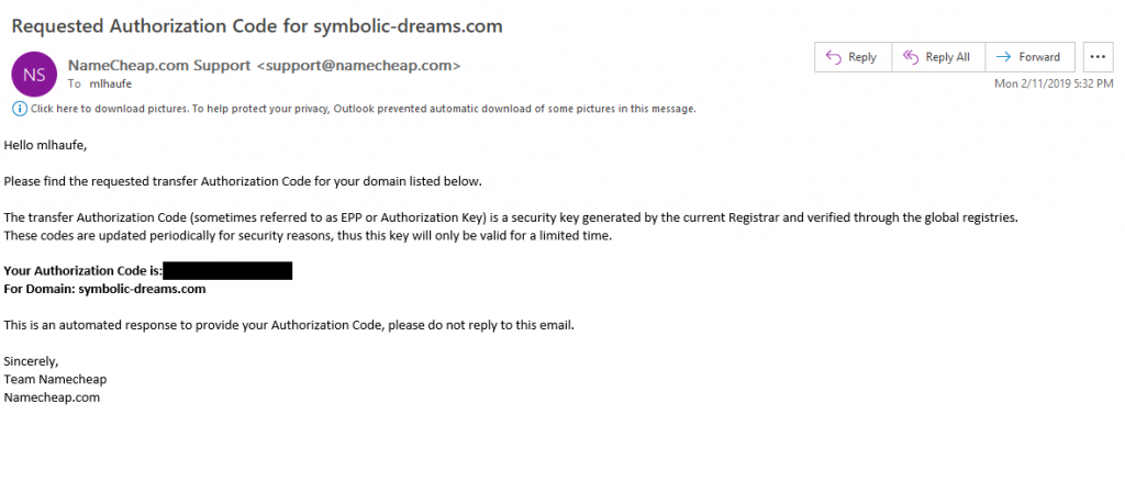Namecheap Authcode Inbox
