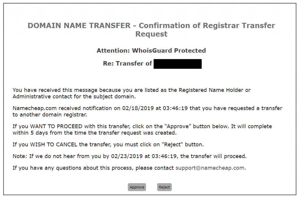 Namecheap Azure Domain Transfer Request
